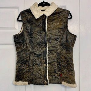 WOOLRICH Saddle Faux Leather Sherpa Lined Vest